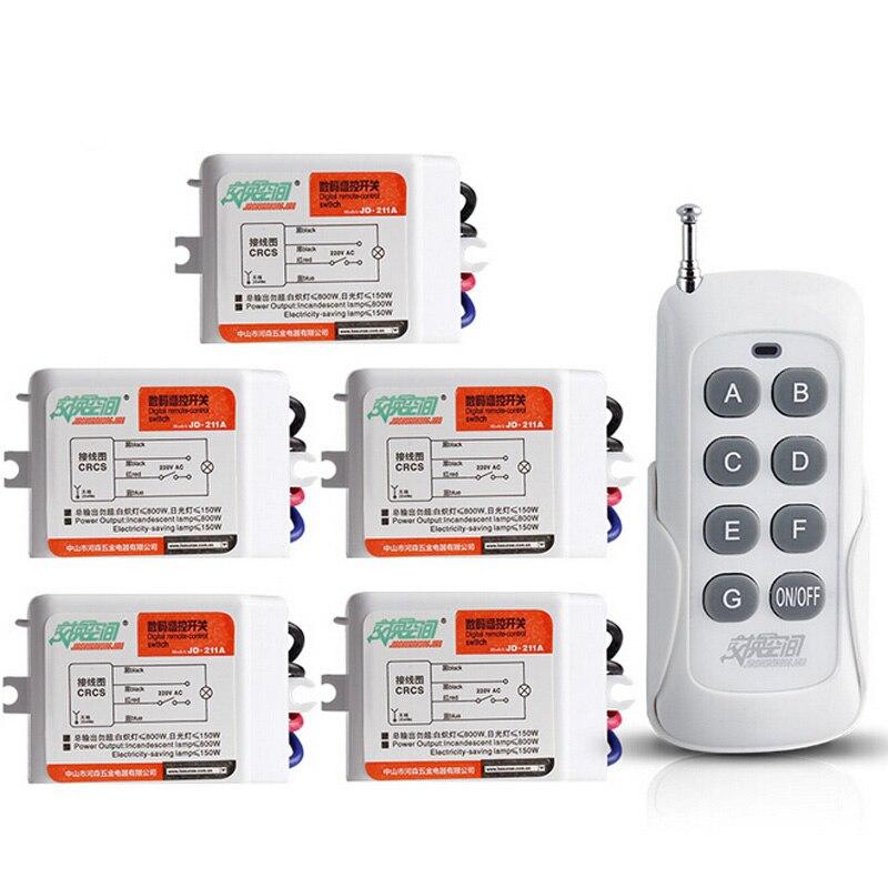 JD211A1N5-مفتاح RF لاسلكي للتحكم عن بعد ، 5 قنوات ، مستقبل رقمي مرقمة ، مفتاح إضاءة 220 فولت