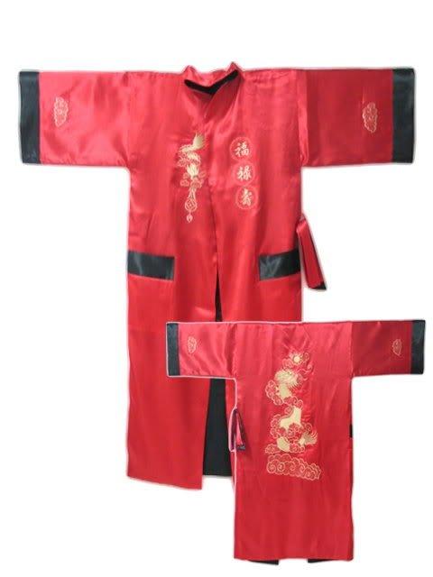 Rojo primavera Reversible dos cara chino hombres bordado satinado bata Kimono vestido dragón envío gratis S-23