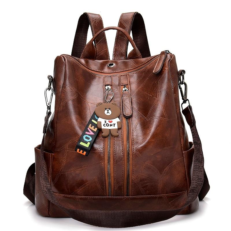 2021 Vintage Women Backpack High Quality Youth Leather Backpacks for Teenage Girls Female School Shoulder Bag Bagpack mochila