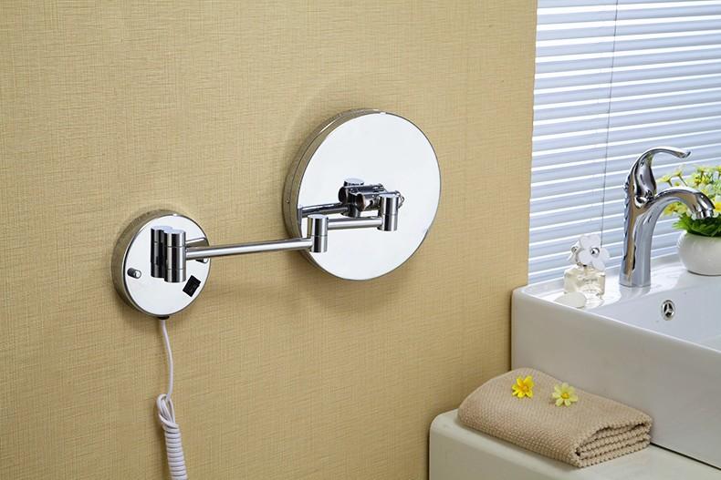 Senducs Led Bath Mirrors Chrome Bathroom Mirror Of 3x 5x 7x 10x Magnifying Mirror 8 Inch Bath Led Silver Round Mirror