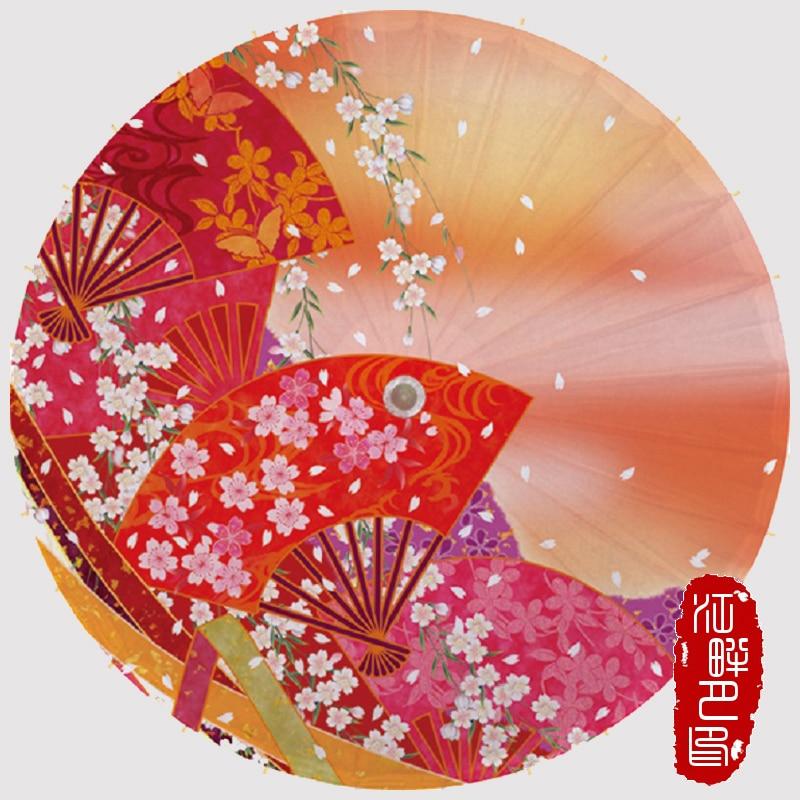Serie de colores cálidos paraguas de papel de cereza abanico japonés con flores Parasol de papel Boda Europea evento paraguas de papel para fiesta