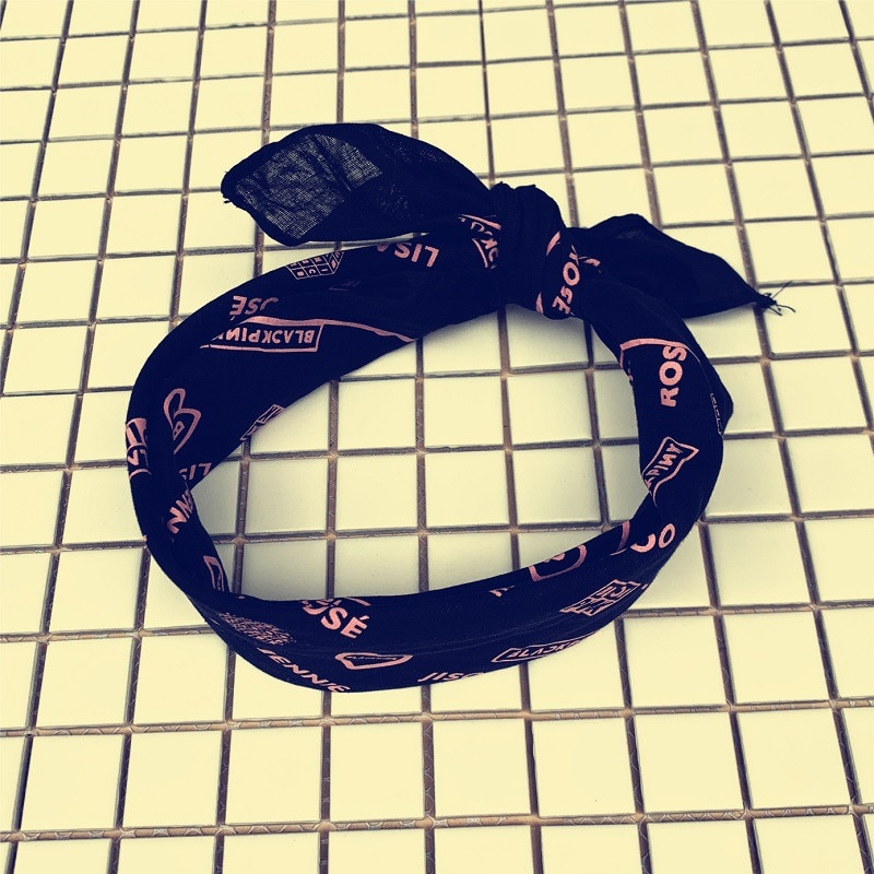 Kpop BLACKPINK JENNIE LISA Rosa JISOO firma bufanda de algodón Hip Hop diadema deportes banda de pelo toalla de mano 55*55CM