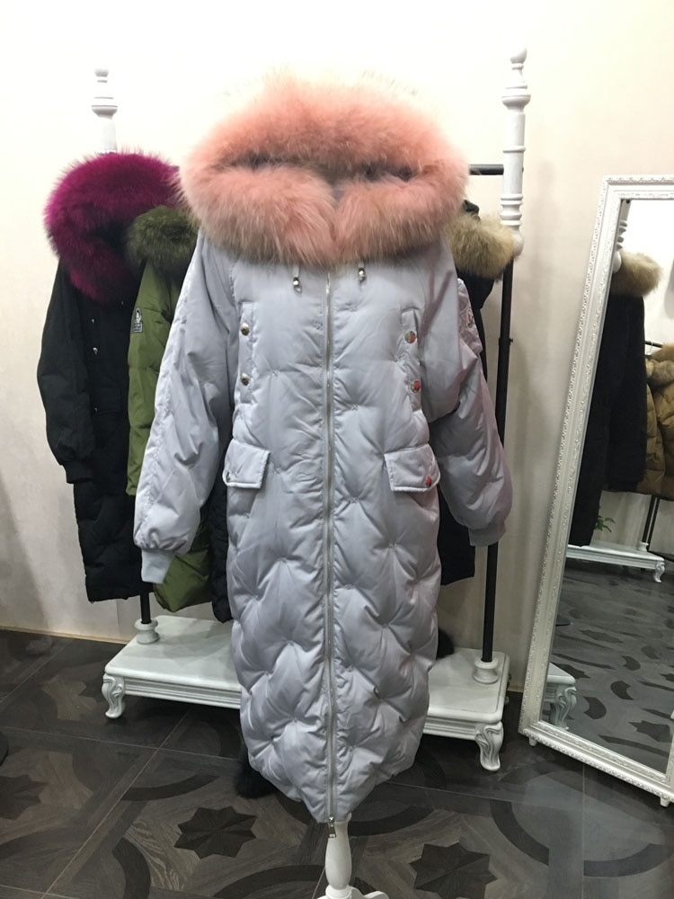 2021 winter fashion women duck down coat jacket with large raccoon dog fur collar loose plus size over-the-knee batwing sleeve