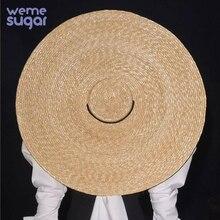 WeMe New Big Brim Wheat Straw Sun Hats For Women 12cm 15cm 18cm Brim Ribbon Bowknot Layies Beach Cap