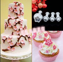4pcs/set Plum Blossom Spring Home DIY Bakeware Flower Plunger Cutter Molds Embossed Stamp For Fondant Cake Cookie