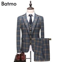 batmo 2018 new arrival high quality plaid single breasted casual suits menmens wedding dressplus size s 5xl 6130