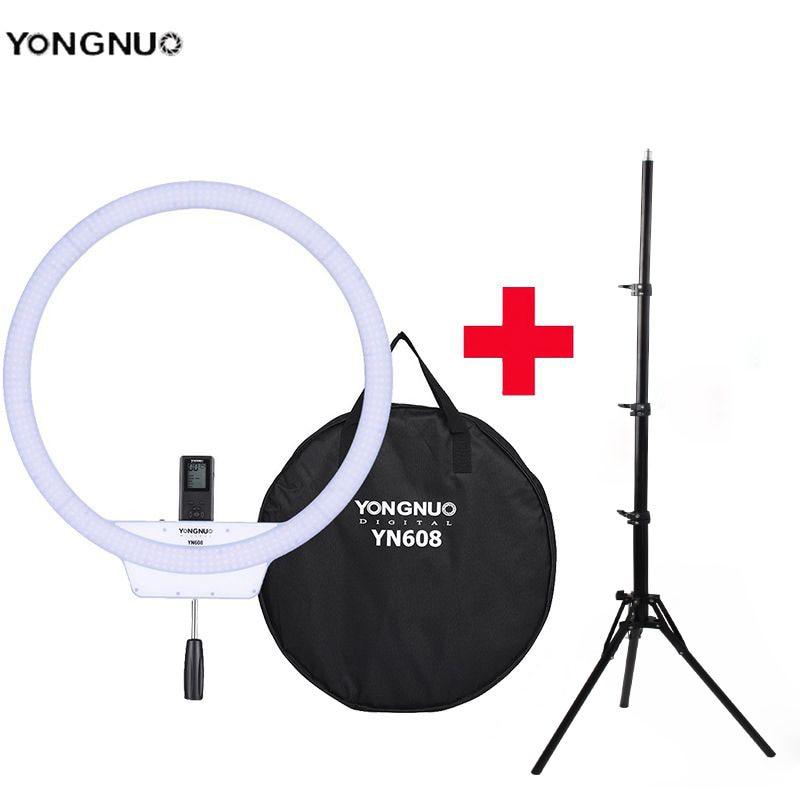 YongNuo YN608 Selfie Ring Light 3200K~5500K Bi-Color Temperature Wireless Remote LED Video Light CRI 95 with Handle Grip Tripod