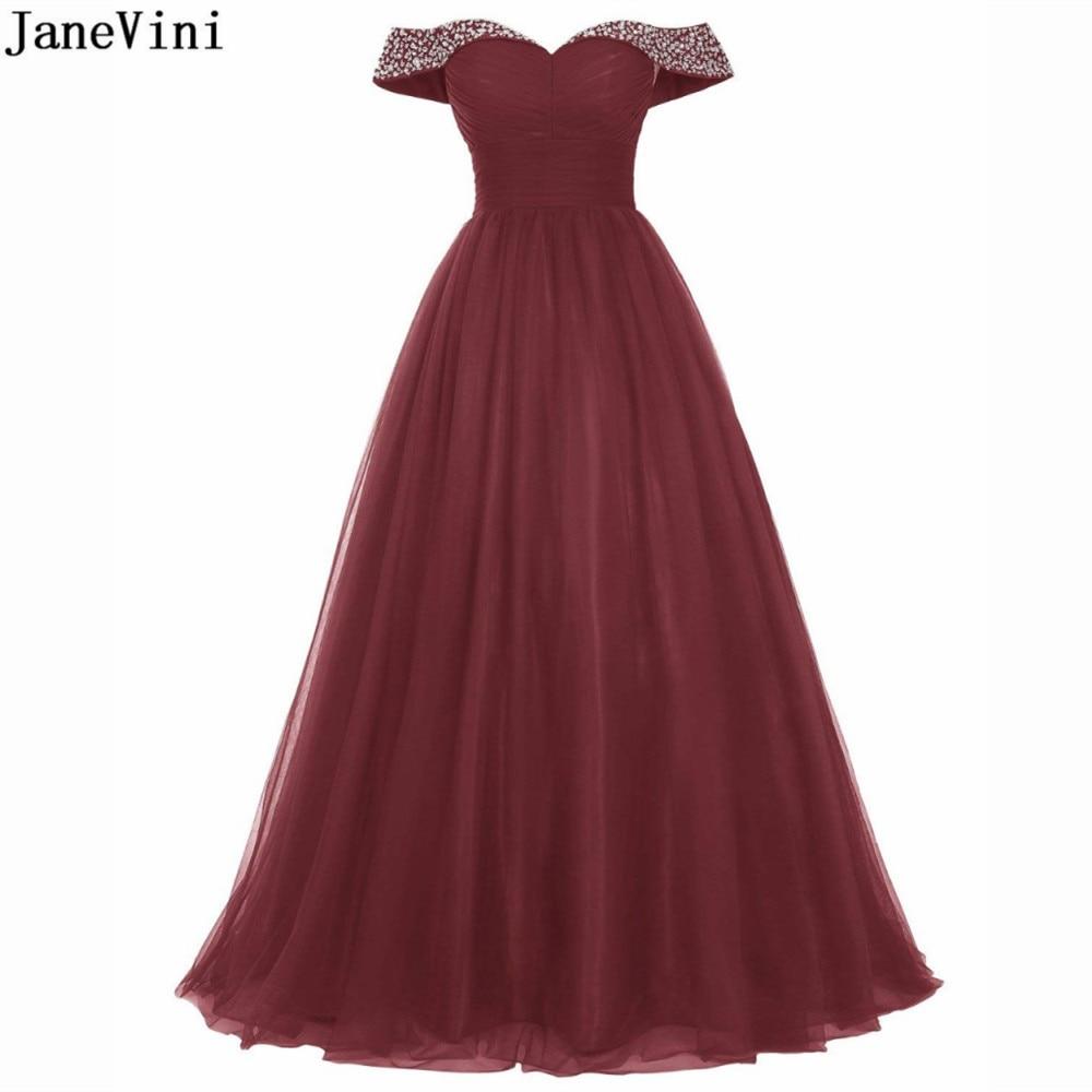 JaneVini 2019 elegante una línea de vestidos de dama de honor color...