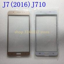 10 unids/lote reemplazo de vidrio exterior para Samsung Galaxy J7 J710 J710F (2016) pantalla táctil de vidrio frontal exterior