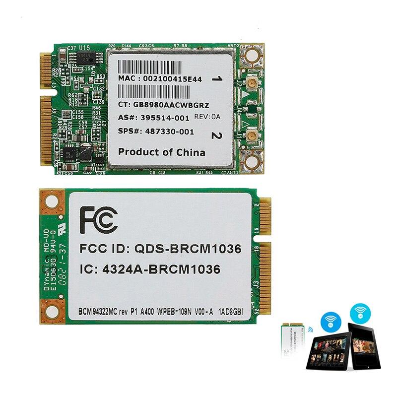 Mini tarjeta BCM94322MC inalámbrica-N WIFI 300M PCI-E para HP SPS 487330-001