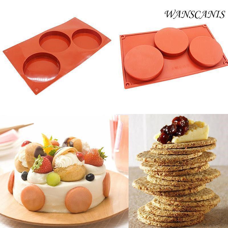 Molde de disco de silicona de 3 cavidades, pastel, tarta, Molde de resina, bandeja para posavasos, molde para pastelería, herramienta no- palo Chocolate molde