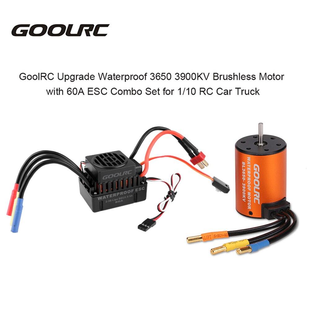 GoolRC обновление водонепроницаемый 3650 3900KV бесщеточный двигатель с 60A комбинированная система электронного зажигания Набор для 1:10 RC запчасти для грузовых автомобилей