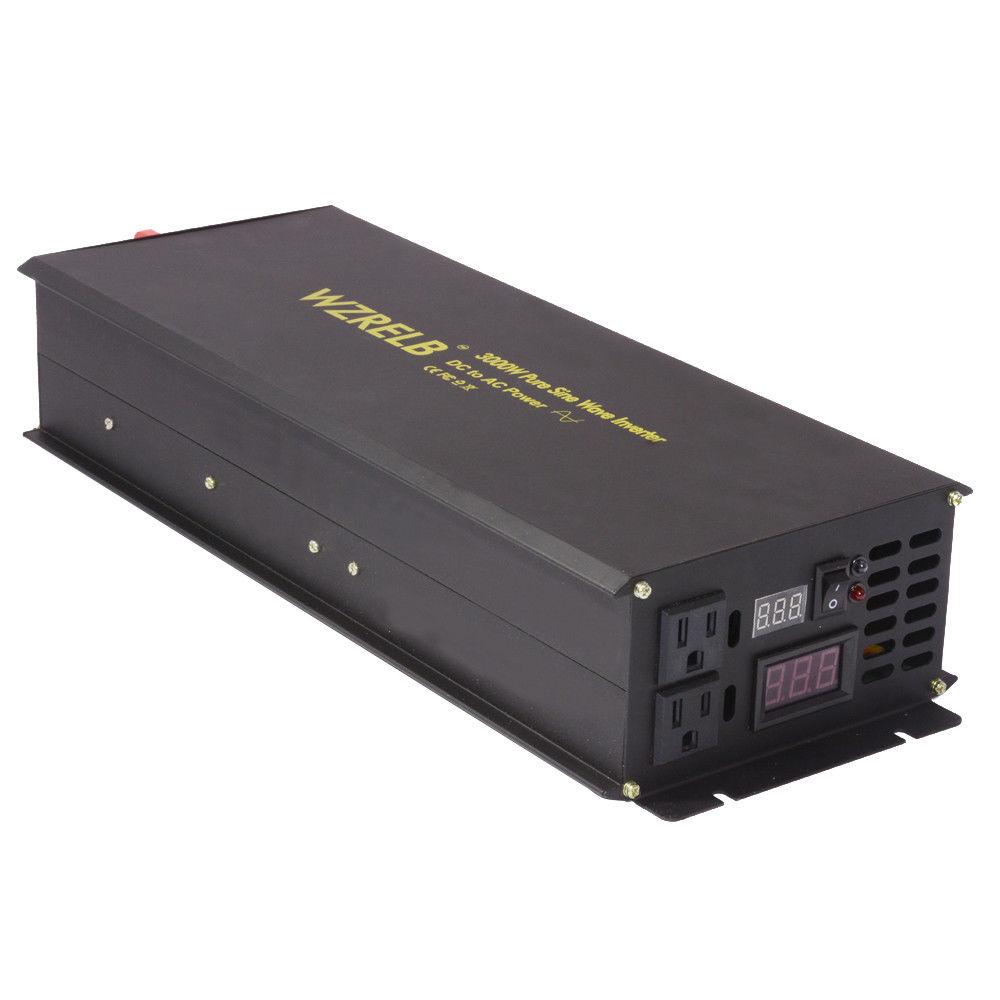 Pure Sine Wave Solar Inverter 24V 230V 3000W Car Power Inverter Battery Power Supply DC to AC Converter 12/48V to 120V/220V/240V