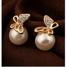 Korean jewelry elegant lady temperament exquisite gilded butterfly imitation pearl earrings female 8