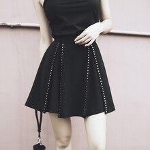 Punk Rivet Mini jupe femmes une ligne taille haute Chic rétro Harajuku courte Pastel Goth jupes mode dété