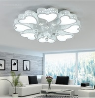 Creative heart-shaped living room LED ceiling lamp romantic bedroom study crystal simple modern Ceiling lights AC110-240V