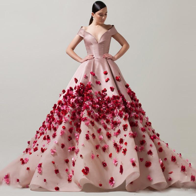 فستان سهرة طويل فاخر على شكل زهرة ثلاثية الأبعاد ، مصنوع يدويًا ، ثوب كرة فاخر ، مصنوع حسب الطلب ، 2018