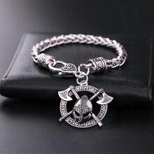 Teamer Viking hommes Odin corbeau slave amulette épée hache casque Bracelets porte-bonheur bijoux couleur argent