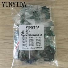 180 Uds = 18value * 10 Uds condensador de película de poliéster Kit surtido contiene 2A104J 2A332J 2A472J 2A103J 2A333J 2A473J 2A563J 2A223J