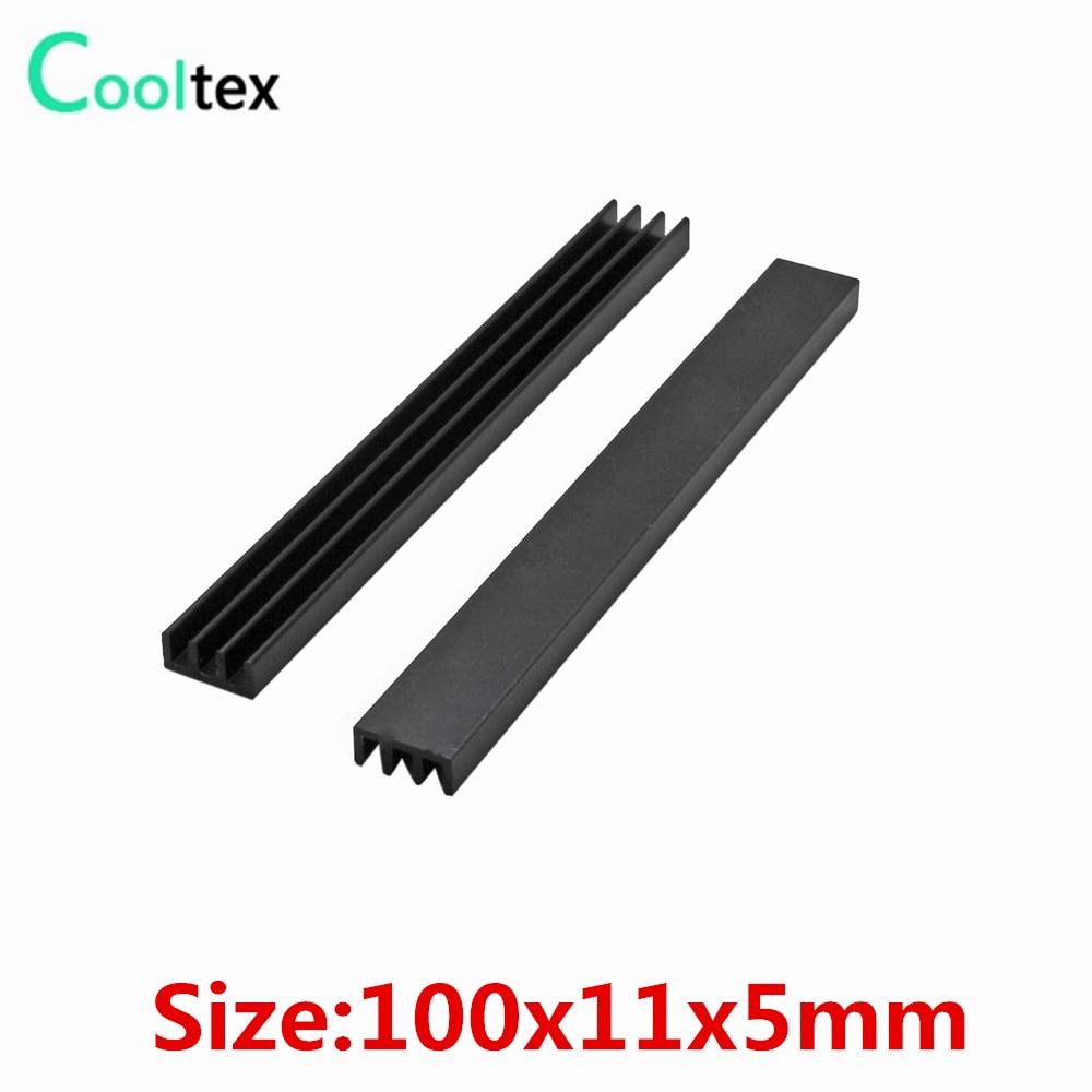 10 piezas disipador de calor de aluminio extruido 100x11x5mm disipador de calor para Chip electrónico VGA RAM LED IC radiador de Enfriamiento del refrigerador