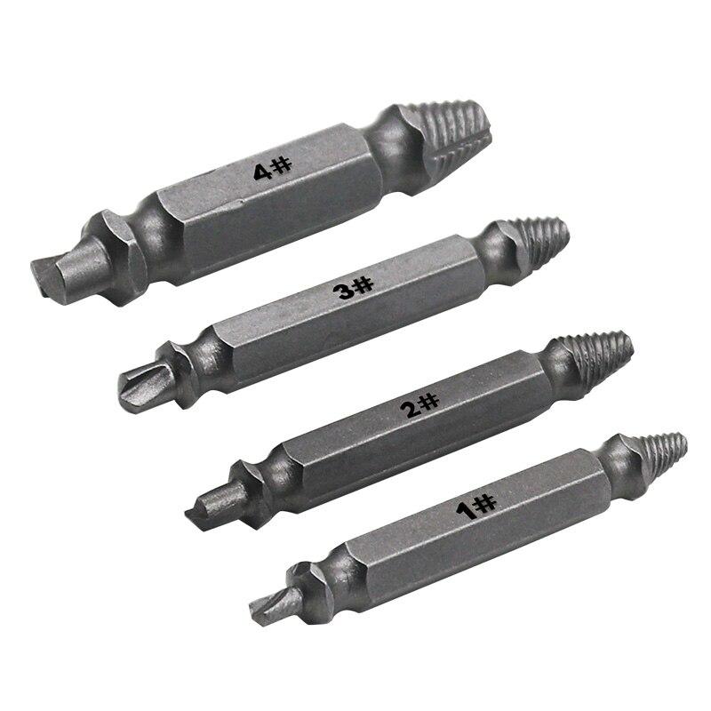 Extractor de tornillo de 4 piezas, dispositivo de guía de extracción de broca de tornillo dañado, salida de velocidad rota, herramienta de extracción de pasador de perno fácil