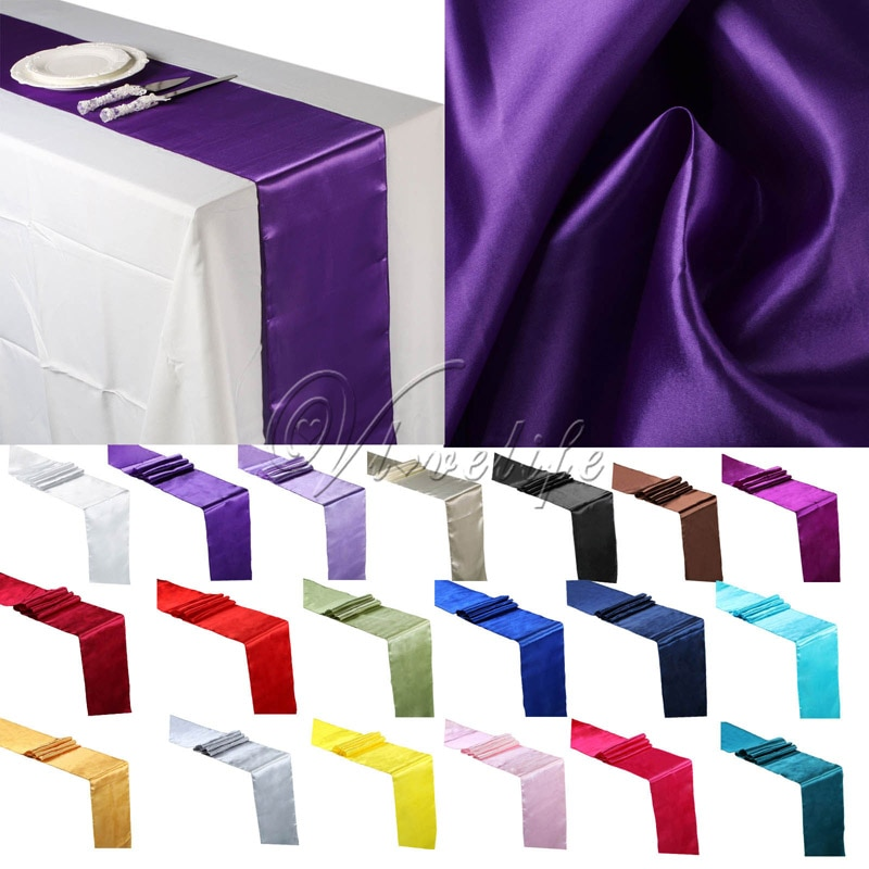 """Free Shipping 10PCS Silver Satin Table Runners 12"""" x 108'' Wedding Party Banquet Home Hotel Table Decorations 30cm x 275cm"""