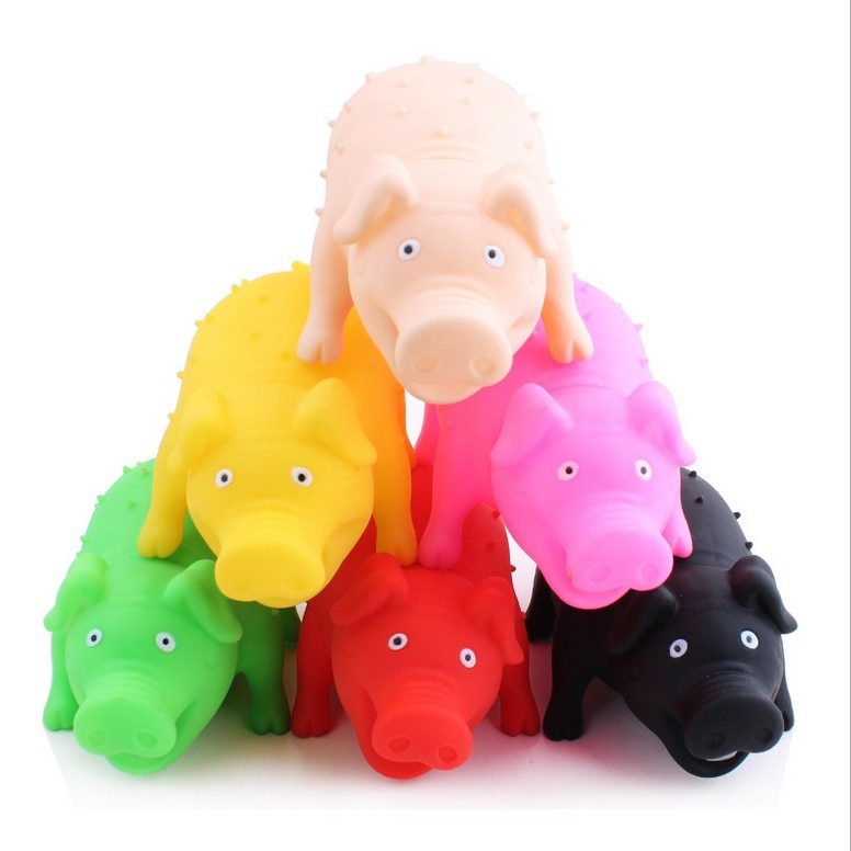 Juguete para mascotas de novedad, juguete para chillar, juguetes para cerdos, juguete para masticar, reduce el estrés, color de juguete de broma al azar