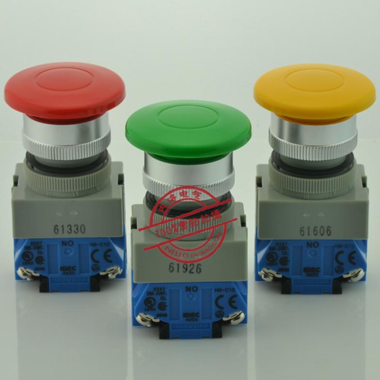 [SA ]Izumi IDEC 22mm duża głowica grzybowa 40 samoczynnego resetowania przełącznik wciskany 1NO/1NC ABW410 * czerwony żółty i zielony-10 sztuk/partia