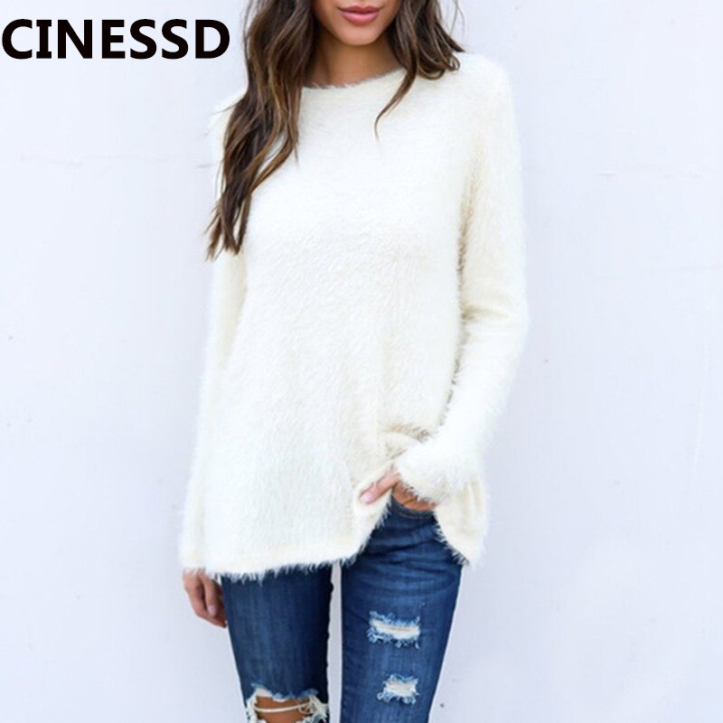 CINESSD Women Knitted Tops Sweaters White Round Neck Long Sleeves Solid Pullover Tunic Loose Wool Knitwear Sweaters Tee Shirts pink plain round neck long sleeves tassel hem t shirts