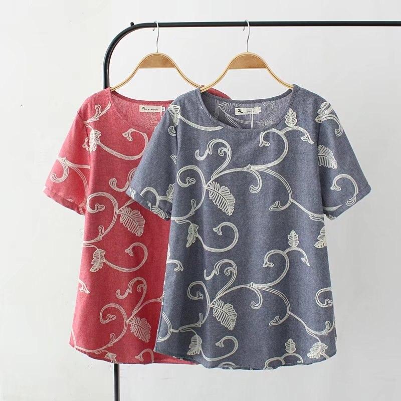 Размер плюс 4XL серая и красная Цветочная вышитая футболки женские 2017 футболка с короткими рукавами летние женские Топы Футболка