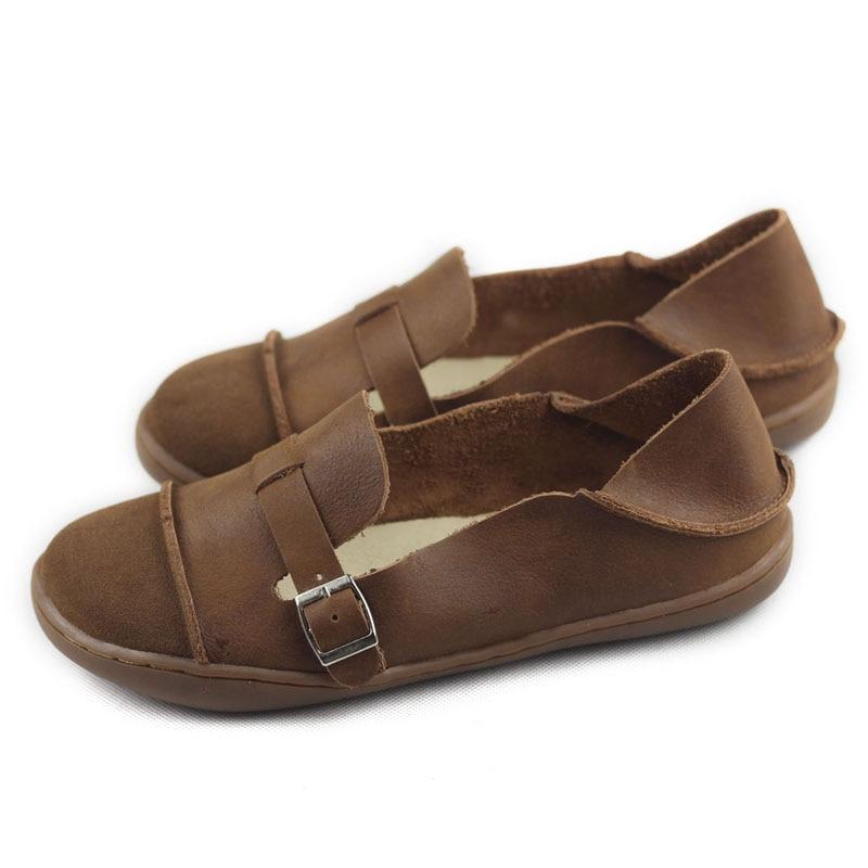 Zapatos de mujer de cuero genuino, zapatos planos para mujer, zapatos de bailarina con punta redonda, zapatos de suela descalza para mujer, zapatos planos para conducir