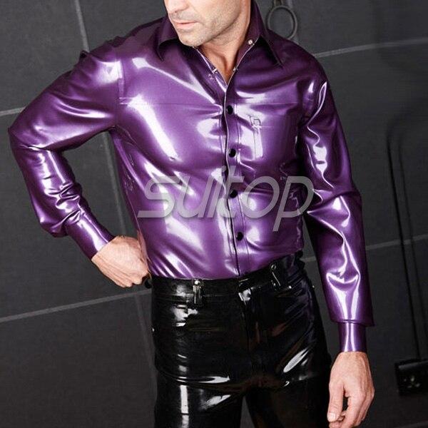 classical purple latex coat shirt for man