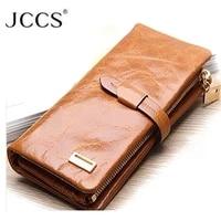 jccs brand designer genuine leather folding wallet womens mens long wallet retro oil wax skin purse clutch wallets money bag
