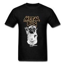 Rock N Roll T-Shirt personnalisé hommes avec carlin en métal à manches courtes drôle musique chien adolescent T-Shirt hauts