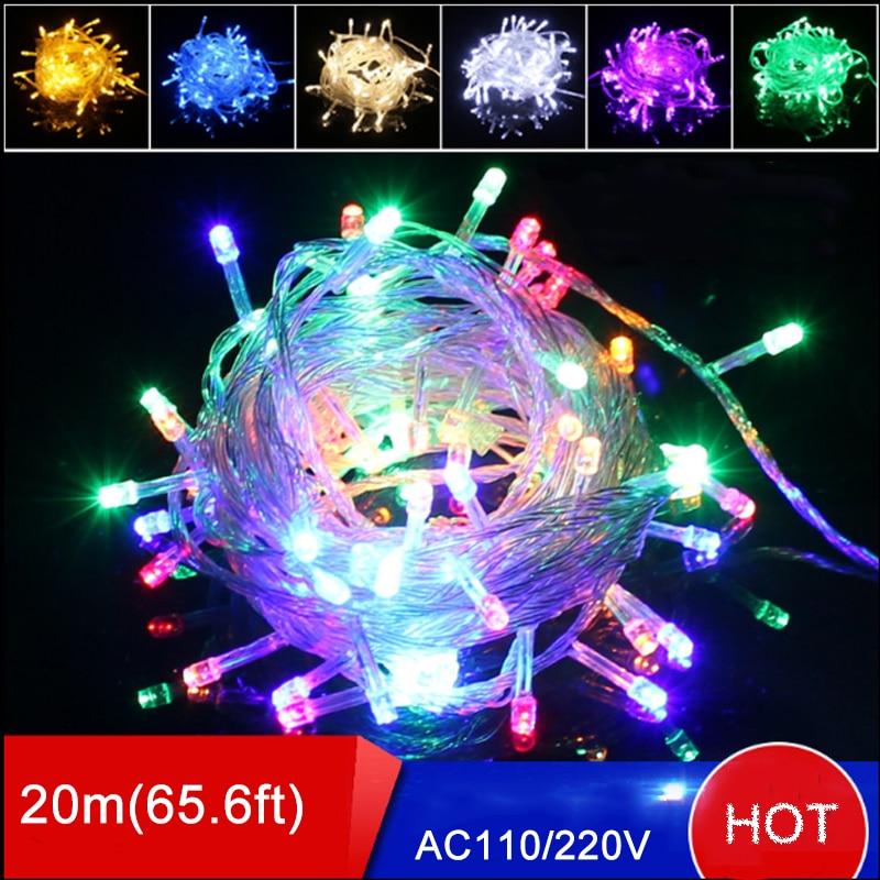 10 Uds. Guirnalda de luces LED de 20M 200leds AC220V Enchufe europeo lámparas de árbol de Navidad multicolor luces de Navidad led blancas frescas