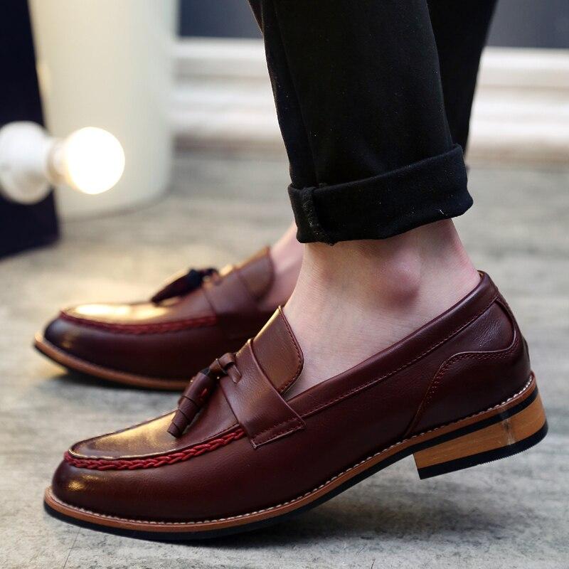 GOXPACER, zapatos de primavera para hombre, Otoño, tacón plano con borla, zapatos de cuero artificial para hombre, zapatos de moda cómodos de talla grande, envío gratis