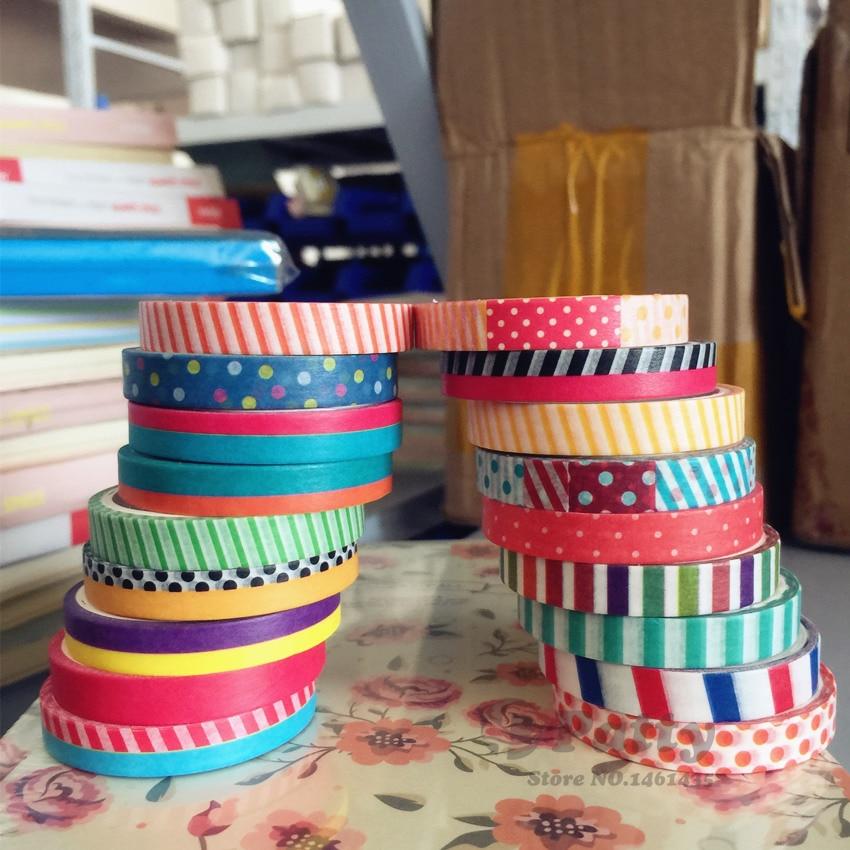18 unids/lote 7mm cinta washi delgada Paquete de cinta adhesiva para álbum cuaderno scrapbooking Deco cintas papelería tipo zakka F872