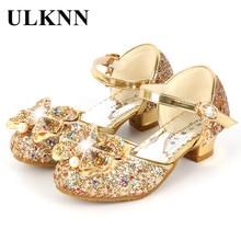 ULKNN çiçek çocuk sandalet yaz plaj prenses kız çocuklar için ayakkabı Glitter düğün sandalia infantil Shoes enfant