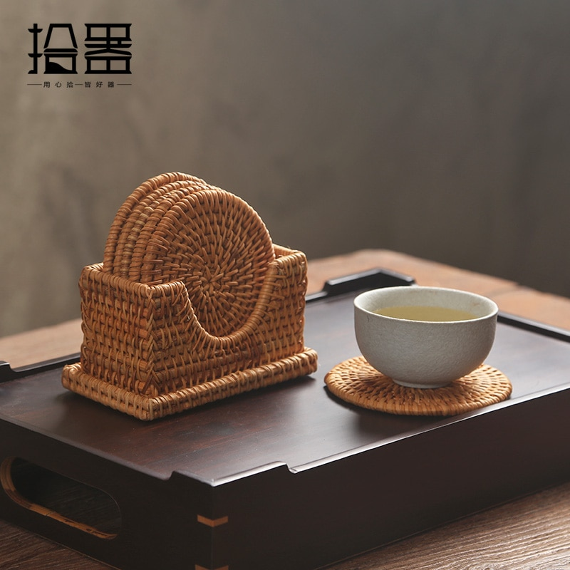Juego de posavasos creativos para té, 6 unidades por lote, taza cojín Kungfu, accesorios para té, vajilla, platillo de mimbre tejido, posavasos