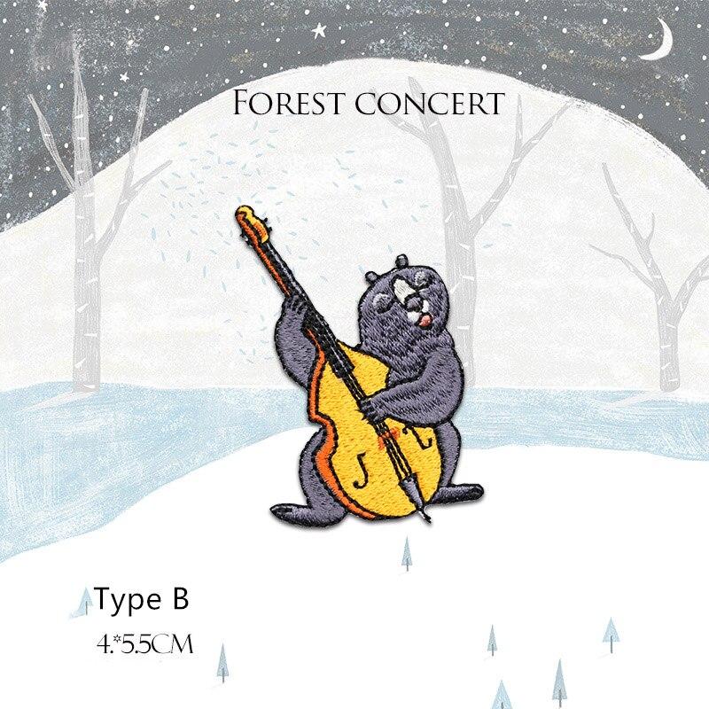 1 pieza de parches bordados de oso con violonchelo DIY apliques bonitos Jeans chaqueta planchar parches para niños ropa DIY