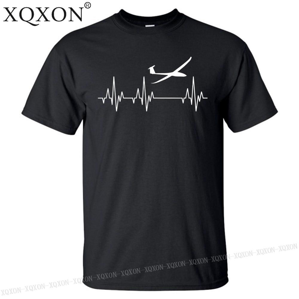 XQXON-Heartbeat парусник планер скольжение Летающий принт футболка пилот Мужская футболка Топы K239