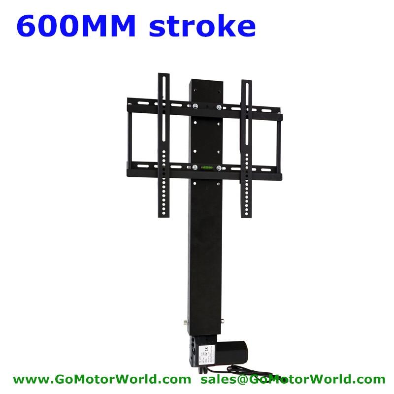 Автоматическая ТВ-подставка для ТВ 110-240 В AC Вход 600 мм 24-дюймовый ход с пультом дистанционного управления и монтажными частями