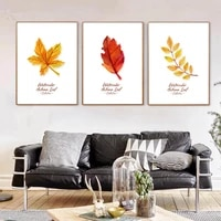 autumn yellow red leaves canvas poster watercolor plant nordic art minimalist canvas painting wall picture print home