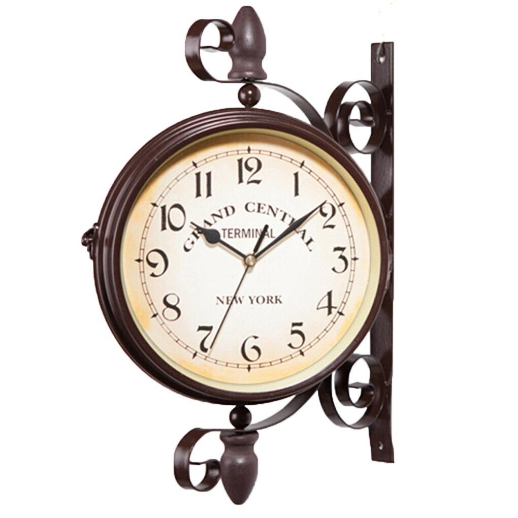 Diario de la pared suspensión colgante Dial doble alarma reloj temporizador Bell reloj Calculagraph ver artesanía Retro casa Decoración