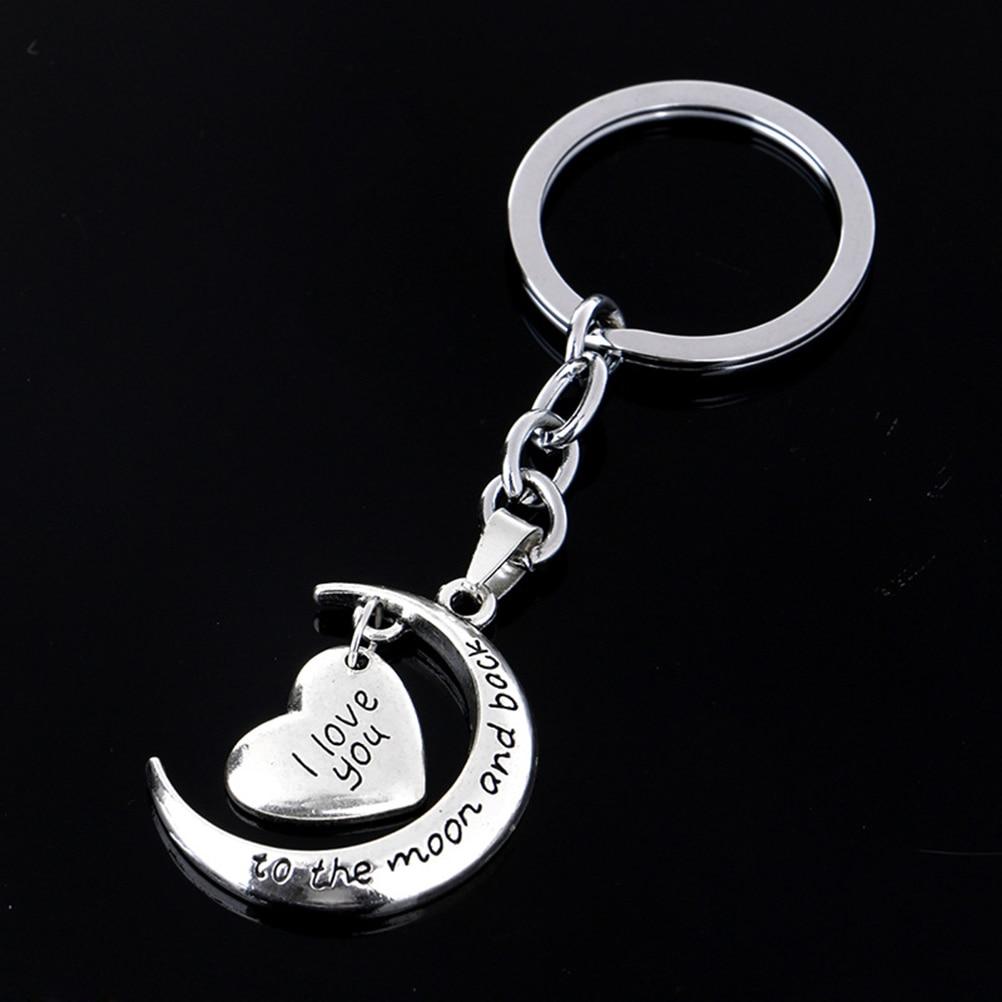 1 llavero de Luna y corazón te amo a la luna y la espalda llavero regalos de joyería y anillos para mujer gran oferta