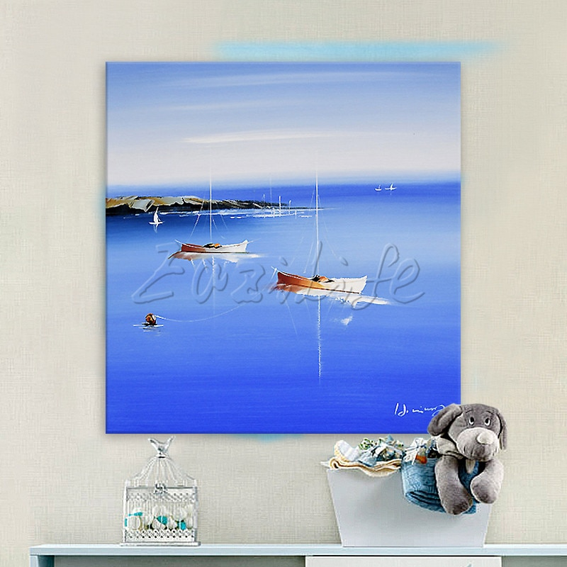 Pintado a mano lienzo de bote pintura al óleo cuadros de pared para decoración para las paredes del salón arte lienzo pintura paleta cuchillo barco 43