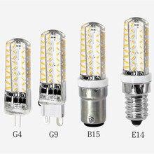 G9 silicona regulable 4W 72x3014 LED cálido/luz blanca fría lámpara AC 110V 220V B15 luces G4 lámparas E14 bombillas