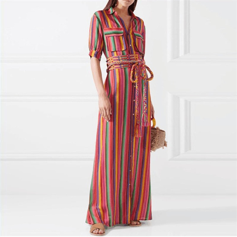 Neu Frauen Boho Bunte Gestreiften V-ausschnitt Lange Maxi Kleid für Sommer DO99