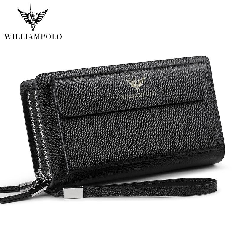 Купить с кэшбэком Luxury brand fashion genuine leather luxury business wallet solid double zipper wallet long clutch pl312