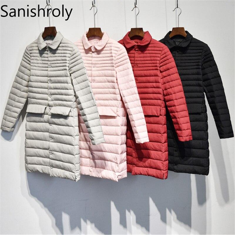Sanishroly 2018 outono inverno feminino midi casaco longo ultra leve para baixo casaco parka feminino pato branco para baixo jaqueta plus size 2xl se274